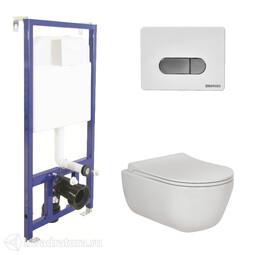 Система инсталляции BERGES NOVUM525, кнопка D7 белая/хром, унитаз EGO Rimless, сиденье Toma Slim SO 047237