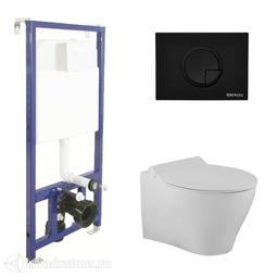 Система инсталляции BERGES NOVUM525, кнопка R5 Soft Touch черная, унитаз TOP Rimless, сиденье Mita Slim SO 043229