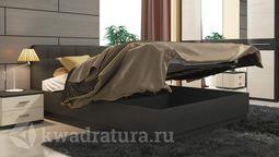 Двуспальная кровать с подъемным механизмом и мягким изголовьем «Сити» (Тексит, Текстиль серый) без матраса ТР