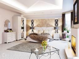 Двуспальная кровать с подъемным механизмом и мягким изголовьем «Аврора» (Белый глянец) без матраса ТР