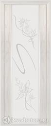 Межкомнатная дверь Луидор Альмека, ясень айсберг, белое стекло, Swarovski