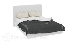 Кровать «Амели» с мягким изголовьем 1 (Белый глянец) без матраса ТР