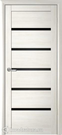 Межкомнатная дверь Фрегат (ALBERO) Вена кипарис белый стекло черное