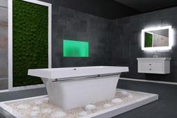 Каменная ванна Aqua de Marco Крит 180*80 с хромированным полотенцедержателем