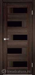 Межкомнатная дверь Velldoris (Веллдорис) PREMIER 5 Орех каштан, стекло черный лакобель