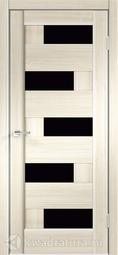 Межкомнатная дверь Velldoris (Веллдорис) PREMIER 5 Ясень японский, стекло черный лакобель