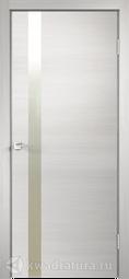 Межкомнатная дверь Velldoris (Веллдорис) TECHNO Z1 с замком, дуб белый поперечный, зеркало матовое, алюминиевая кромка