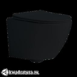 Унитаз подвесной GROSSMAN GR-4411 Black сиденье дюропласт, микролифт, 560*360*385, чёрный